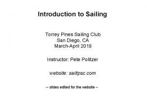 Introduction to Sailing Torrey Pines Sailing Club San