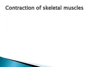 Contraction of skeletal muscles Energy Needed for Contraction