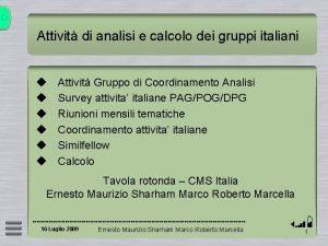 Attivit di analisi e calcolo dei gruppi italiani