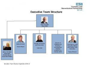 Executive Team Structure Chief Executive Simon Gilby Medical