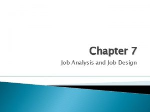 Chapter 7 Job Analysis and Job Design Objectives