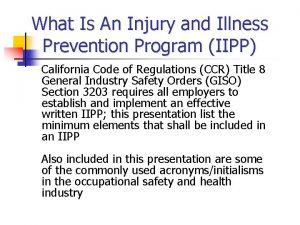 What Is An Injury and Illness Prevention Program