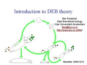 Introduction to DEB theory Bas Kooijman Dept theoretical