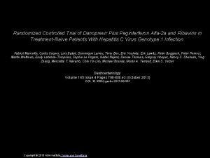 Randomized Controlled Trial of Danoprevir Plus Peginterferon Alfa2