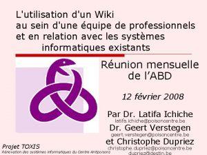 Lutilisation dun Wiki au sein dune quipe de