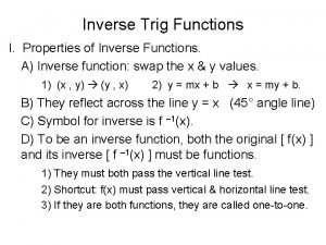 Inverse Trig Functions I Properties of Inverse Functions