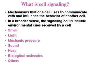 What is cell signaling Mechanisms that one cell