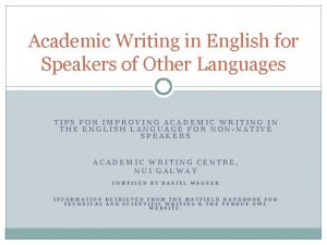 Academic Writing in English for Speakers of Other