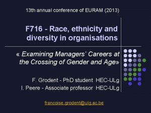 13 th annual conference of EURAM 2013 F