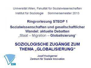 Universitt Wien Fakultt fr Sozialwissenschaften Institut fr Soziologie