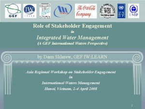Role of Stakeholder Engagement in Integrated Water Management
