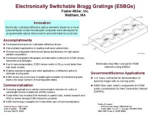 Electronically Switchable Bragg Gratings ESBGs FosterMiller Inc Waltham