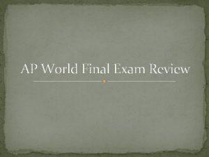 AP World Final Exam Review Russian Revolution Causes