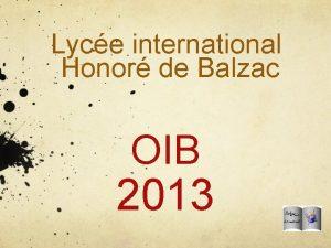 Lyce international Honor de Balzac OIB 2013 O