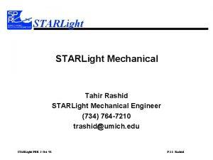 STARLight Mechanical Tahir Rashid STARLight Mechanical Engineer 734
