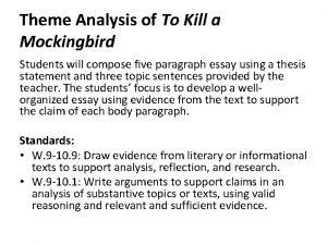 Theme Analysis of To Kill a Mockingbird Students