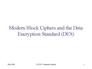 Modern Block Ciphers and the Data Encryption Standard