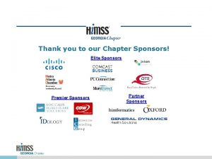 Thank you to our Chapter Sponsors Elite Sponsors