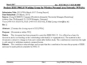 March 2017 doc IEEE 802 15 17 0231