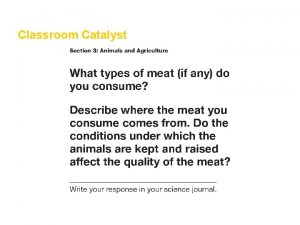 Food and Agriculture Classroom Catalyst Section 3 Food