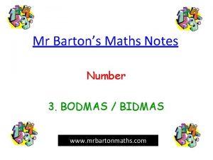 Mr Bartons Maths Notes Number 3 BODMAS BIDMAS