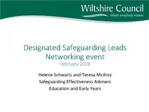 Designated Safeguarding Leads Networking event February 2019 Helene