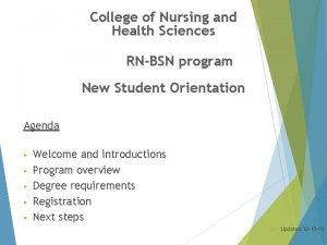 College of Nursing and Health Sciences RNBSN program
