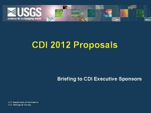 CDI 2012 Proposals Briefing to CDI Executive Sponsors