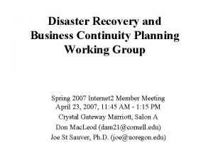Disaster Recovery and Business Continuity Planning Working Group