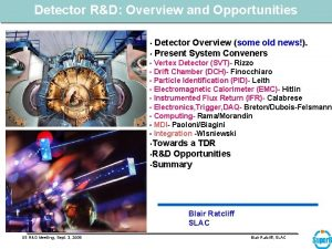 Detector RD Overview and Opportunities Detector Overview some