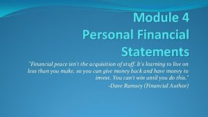 Module 4 Personal Financial Statements Financial peace isnt