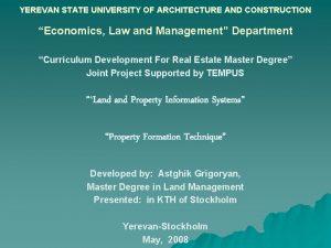 YEREVAN STATE UNIVERSITY OF ARCHITECTURE AND CONSTRUCTION Economics