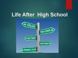 Life After High School Postsecondary Options Work Community