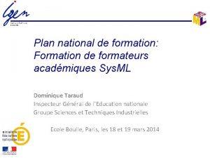 Plan national de formation Formation de formateurs acadmiques