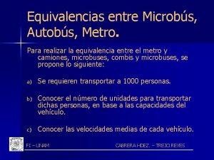 Equivalencias entre Microbs Autobs Metro Para realizar la