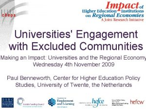 Universities Engagement with Excluded Communities Making an Impact