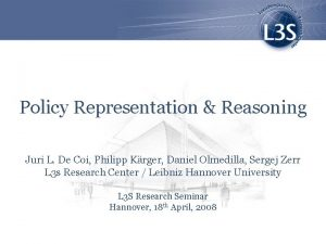 Policy Representation Reasoning Juri L De Coi Philipp