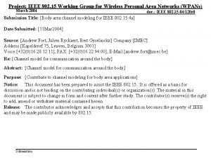 Project IEEE 802 15 Working Group for Wireless