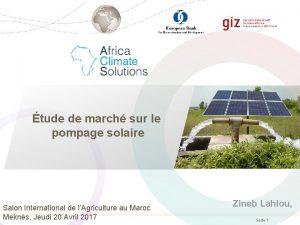tude de march sur le pompage solaire Salon