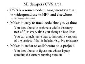 MI dampers CVS area CVS is a source