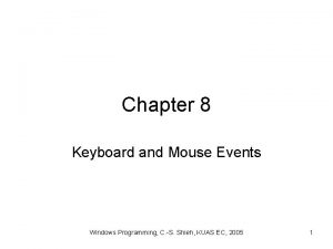Chapter 8 Keyboard and Mouse Events Windows Programming