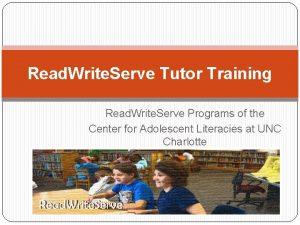 Read Write Serve Tutor Training Read Write Serve