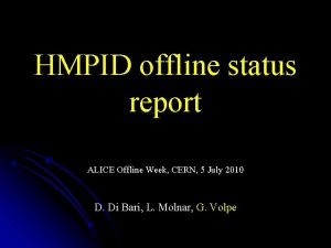 HMPID offline status report ALICE Offline Week CERN