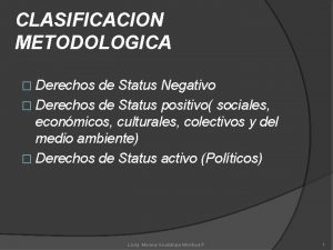 CLASIFICACION METODOLOGICA Derechos de Status Negativo Derechos de