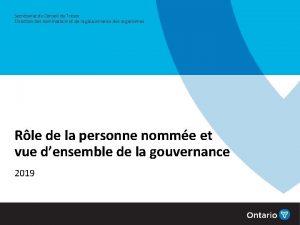 Secrtariat du Conseil du Trsor Direction des nominations