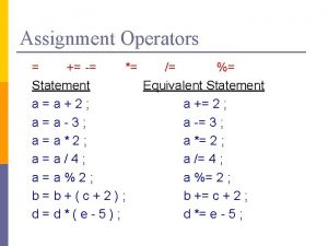 Assignment Operators Statement Equivalent Statement aa2 a 2