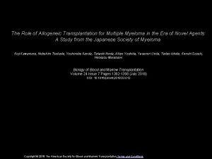 The Role of Allogeneic Transplantation for Multiple Myeloma