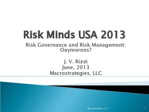 Risk Minds USA 2013 Risk Governance and Risk