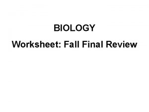 BIOLOGY Worksheet Fall Final Review Hypothesis Hypothesis A