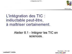 Lintgration des TIC TECFA Uni Ge Lintgration des